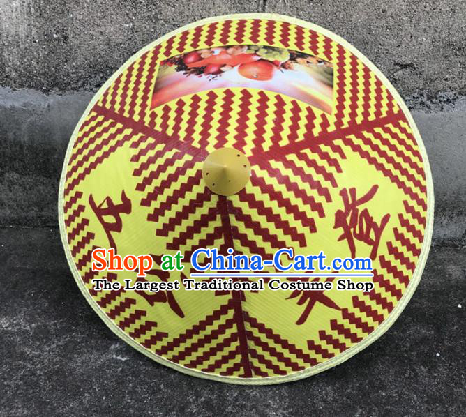 Handmade Chinese Printing Yellow Straw Hat Traditional Bamboo Hat Craft
