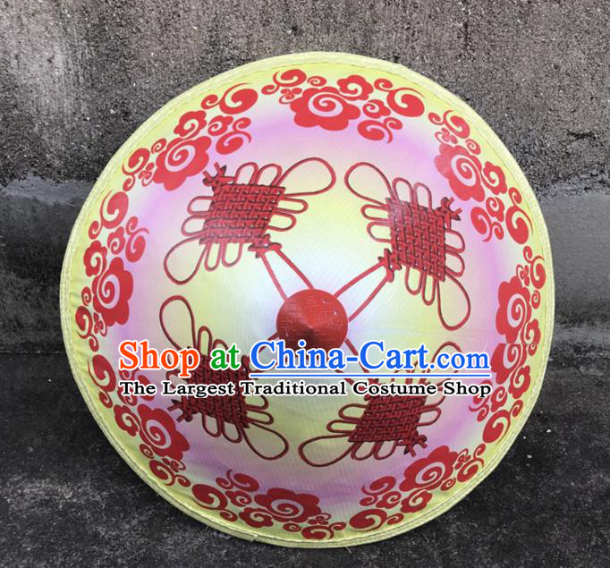 Handmade Chinese Printing Knot Pink Straw Hat Traditional Bamboo Hat Craft