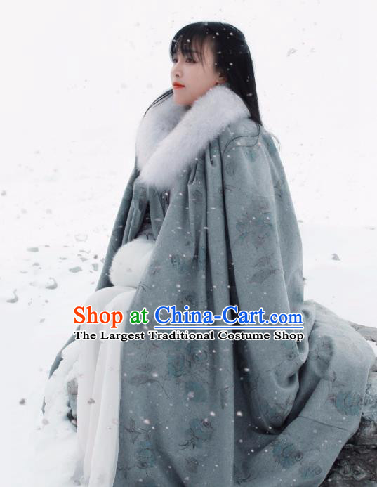 Traditional Chinese Tang Suit Grey Cloak Li Ziqi Overcoat Cape Costume for Women