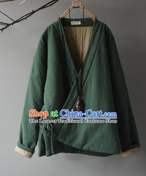 Traditional Chinese Tang Suit Green Cotton Padded Jacket Blogger Li Ziqi Flax Overcoat Costume for Women