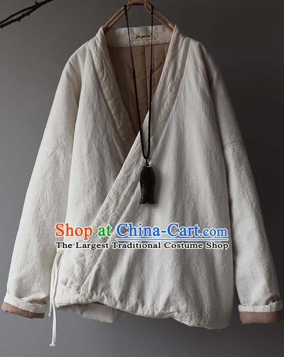 Traditional Chinese Tang Suit White Cotton Padded Jacket Blogger Li Ziqi Flax Overcoat Costume for Women