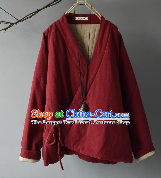 Traditional Chinese Tang Suit Red Cotton Padded Jacket Blogger Li Ziqi Flax Overcoat Costume for Women
