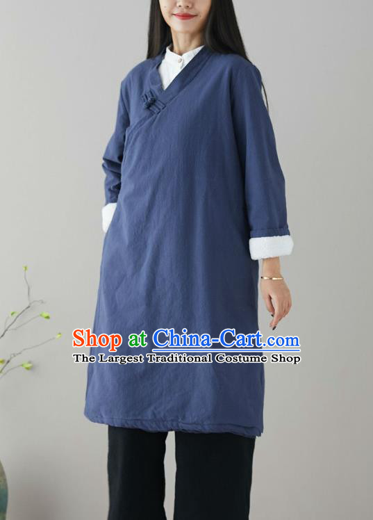Traditional Chinese Tang Suit Navy Qipao Dress Blogger Li Ziqi Flax Overcoat Costume for Women
