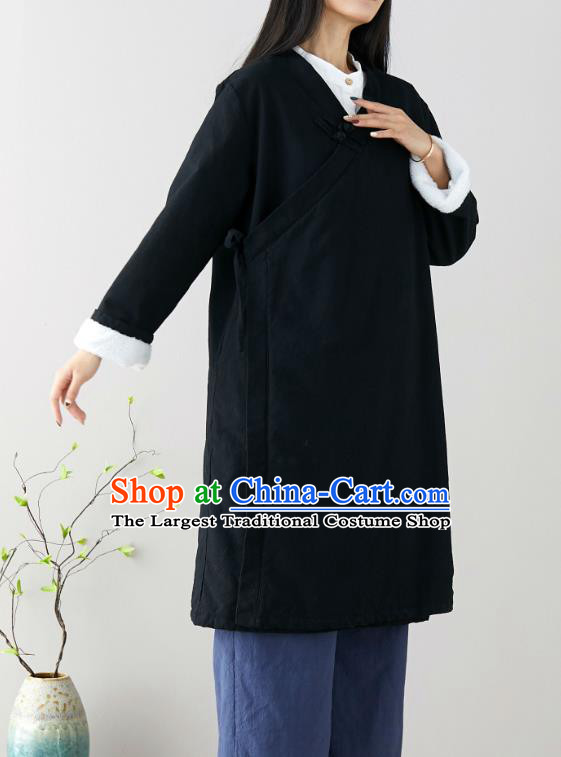 Traditional Chinese Tang Suit Black Qipao Dress Blogger Li Ziqi Flax Overcoat Costume for Women