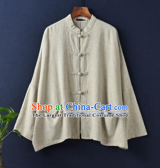 Traditional Chinese Tang Suit Overcoat Li Ziqi Beige Flax Jacket Costume for Women