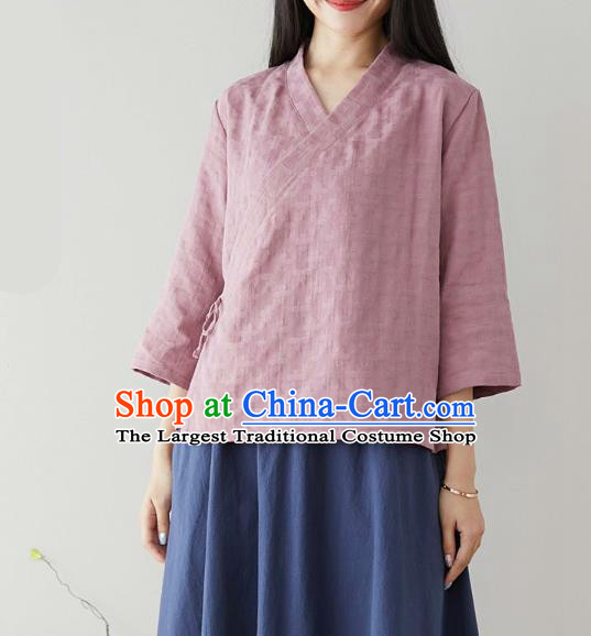 Traditional Chinese Lilac Flax Shirt Li Ziqi Tang Suit Blouse Upper Outer Garment Costume for Women