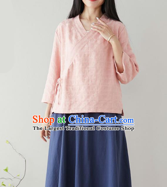 Traditional Chinese Pink Flax Shirt Li Ziqi Tang Suit Blouse Upper Outer Garment Costume for Women