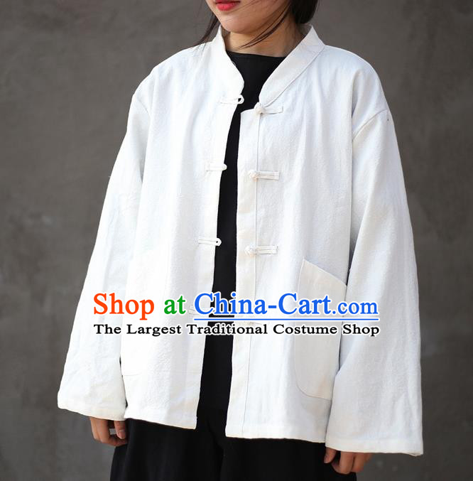 Traditional Chinese Tang Suit White Flax Jacket Li Ziqi Shirt Overcoat Costume for Women