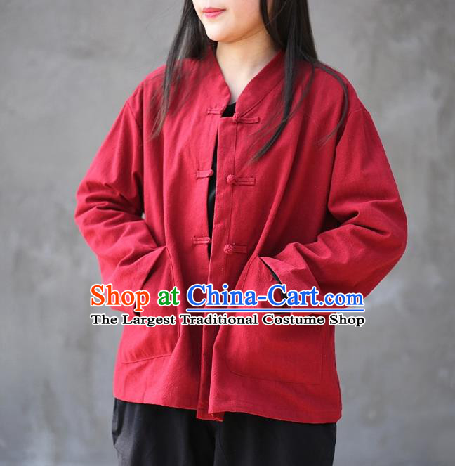 Traditional Chinese Tang Suit Red Flax Jacket Blogger Li Ziqi Shirt Overcoat Costume for Women