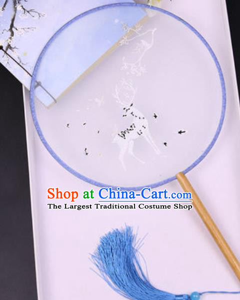 Chinese Traditional Embroidered Deer Blue Palace Fans Handmade Silk Round Fan for Women