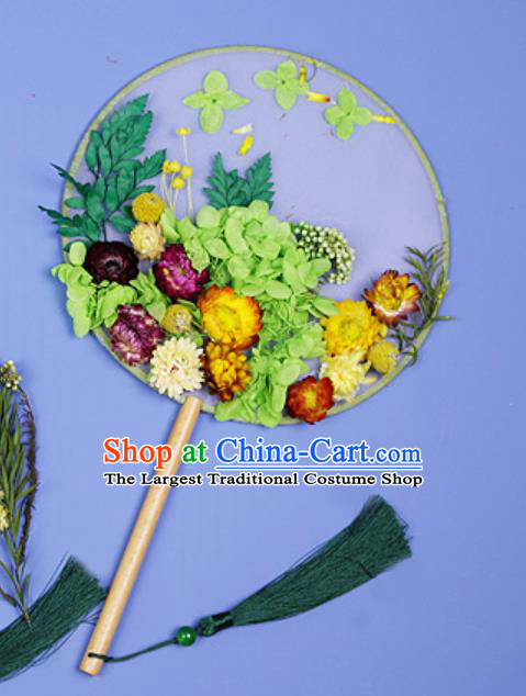 Chinese Traditional Green Flowers Palace Fans Handmade Round Fan for Women