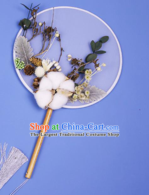 Chinese Traditional Cotton Palace Fans Handmade Round Fan for Women