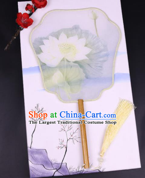 Chinese Traditional Painting Lotus Palace Fans Handmade Classical Dance Silk Fan for Women