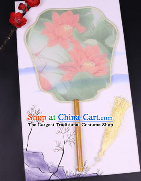 Chinese Traditional Painting Red Lotus Palace Fans Handmade Classical Dance Silk Fan for Women