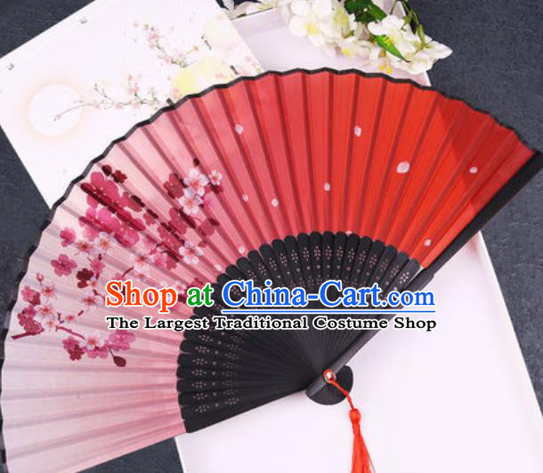 Chinese Traditional Classical Dance Printing Plum Blossom Red Silk Folding Fans Handmade Accordion Bamboo Fan