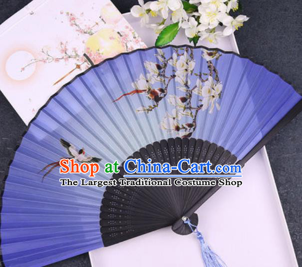 Chinese Traditional Classical Dance Printing Mangnolia Blue Silk Folding Fans Handmade Accordion Bamboo Fan