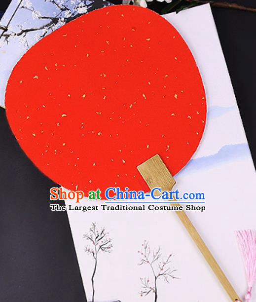 Chinese Traditional Red Art Paper Palace Fans Handmade Round Fan for Women