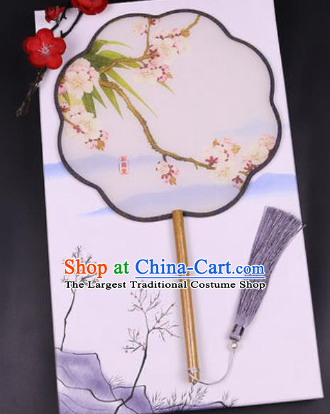 Chinese Traditional Painting Pear Flowers Palace Fans Handmade Classical Dance Silk Fan for Women