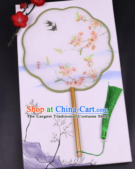 Chinese Traditional Painting Plum Swallow Palace Fans Handmade Classical Dance Silk Fan for Women