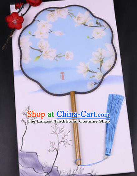 Chinese Traditional Painting Mangnolia Blue Palace Fans Handmade Classical Dance Silk Fan for Women