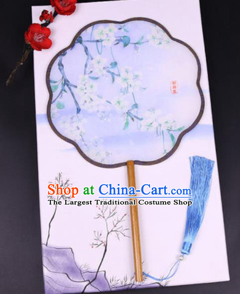 Chinese Traditional Painting Pear Flowers Blue Palace Fans Handmade Classical Dance Silk Fan for Women