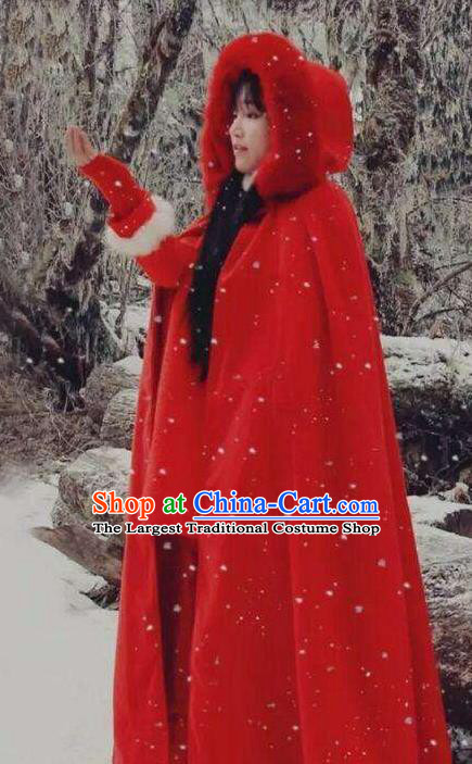 Traditional Chinese Tang Suit Red Cloak Blogger Li Ziqi Winter Overcoat Cape Costume for Women