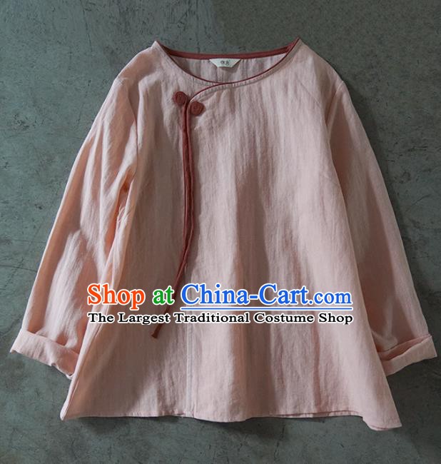 Traditional Chinese Tang Suit Pink Shirt Blogger Li Ziqi Flax Blouse Costume for Women