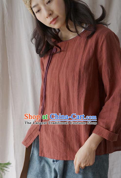 Traditional Chinese Tang Suit Rust Red Shirt Blogger Li Ziqi Flax Blouse Costume for Women