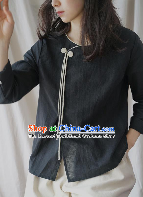 Traditional Chinese Tang Suit Black Shirt Blogger Li Ziqi Flax Blouse Costume for Women
