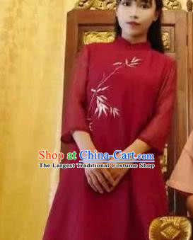 Traditional Chinese Tang Suit Red Qipao Dress Blogger Li Ziqi Cheongsam Costume for Women