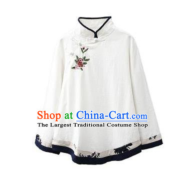 Traditional Chinese Tang Suit White Flax Shirt Blogger Li Ziqi Stand Collar Blouse Costume for Women