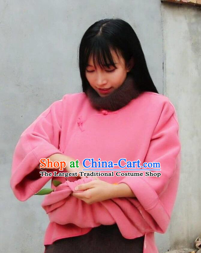 Traditional Chinese Tang Suit Pink Woolen Coat Blogger Li Ziqi Jacket Costume for Women