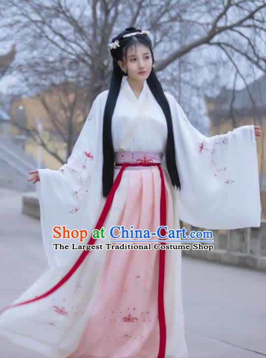 Traditional Chinese Jin Dynasty Court Historical Costumes Ancient Royal Princess Hanfu Dress for Women