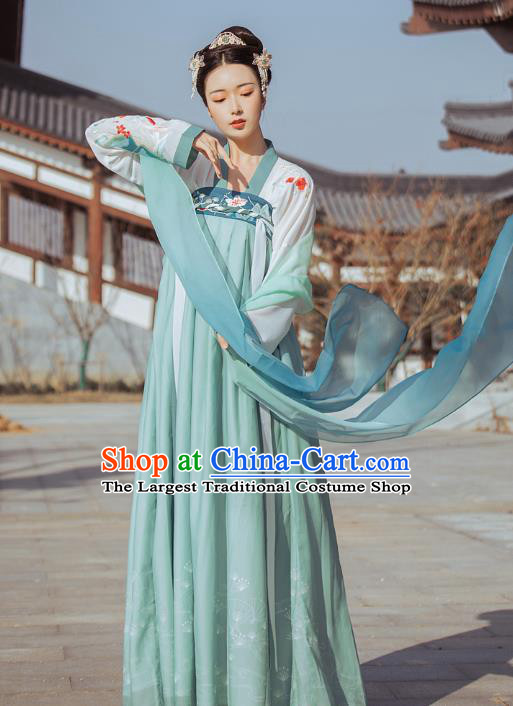 Traditional Chinese Tang Dynasty Historical Costumes Ancient Royal Princess Green Hanfu Dress for Women