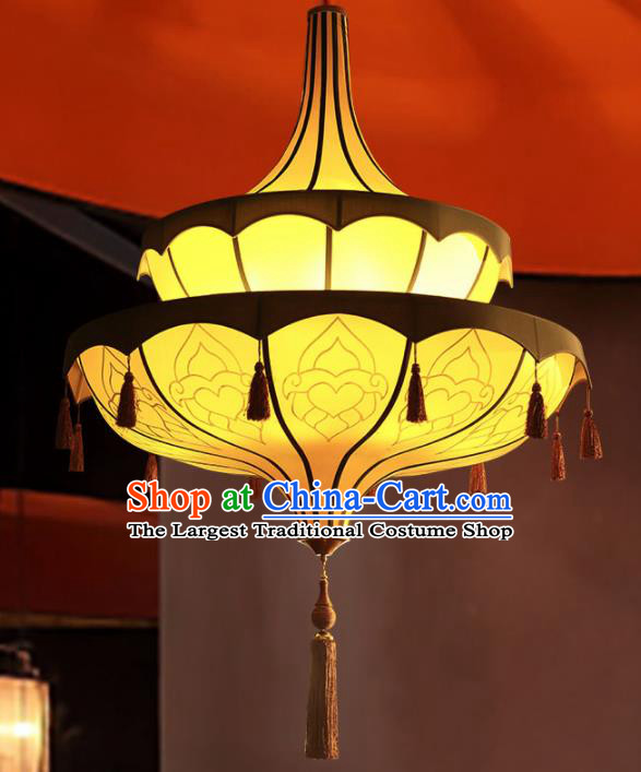 Asian Traditional Yellow Cloth Ceiling Lantern Thailand Handmade Lanterns Hanging Lamps