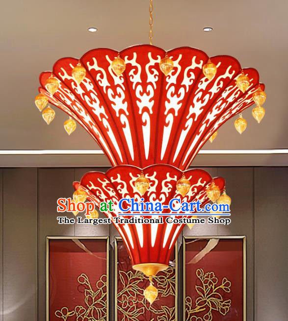 Asian Traditional Red Cloth Ceiling Lantern Thailand Handmade Lanterns Hanging Lamps