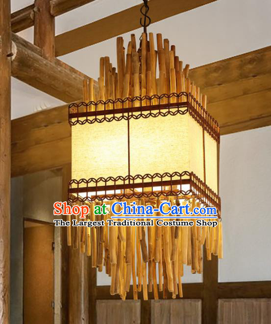 Asian Traditional Wood Square Ceiling Lantern Thailand Handmade Lanterns Hanging Lamps