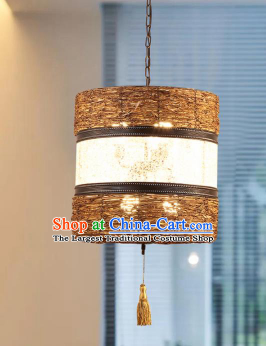 Asian Traditional Straw Weaving Ceiling Lantern Thailand Handmade Lanterns Hanging Lamps