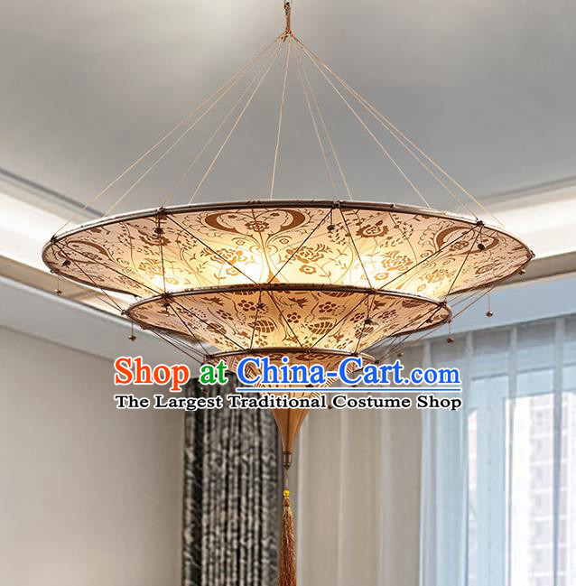 Asian Traditional Fabrics Ceiling Lantern Thailand Handmade Lanterns Hanging Lamps