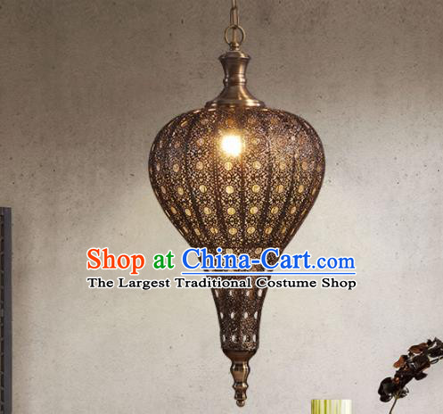 Asian Traditional Hollow Out Iron Ceiling Lantern Thailand Handmade Lanterns Hanging Lamps
