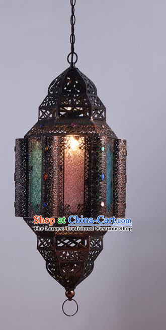 Asian Traditional Iron Grass Ceiling Lantern Thailand Handmade Lanterns Hanging Lamps