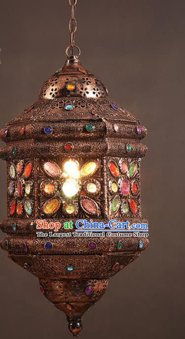 Asian Traditional Iron Crystal Ceiling Lantern Thailand Handmade Lanterns Hanging Lamps