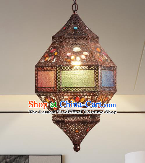 Asian Traditional Iron Colorful Grass Ceiling Lantern Thailand Handmade Lanterns Hanging Lamps