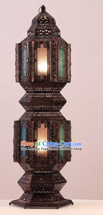 Southeast Asia Traditional Iron Colorful Grass Desk Lantern Thailand Handmade Lanterns