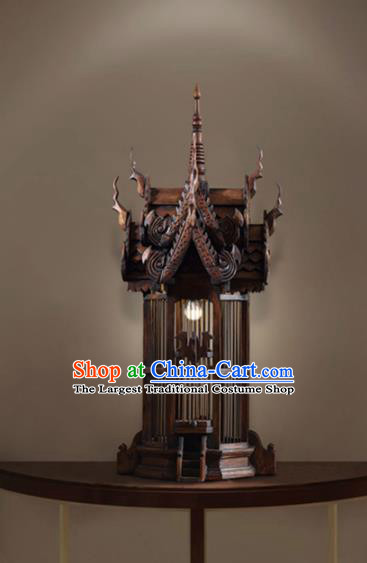 Asia Chinese Traditional Wood Carving Birdcage Desk Lantern Thailand Handmade Lanterns