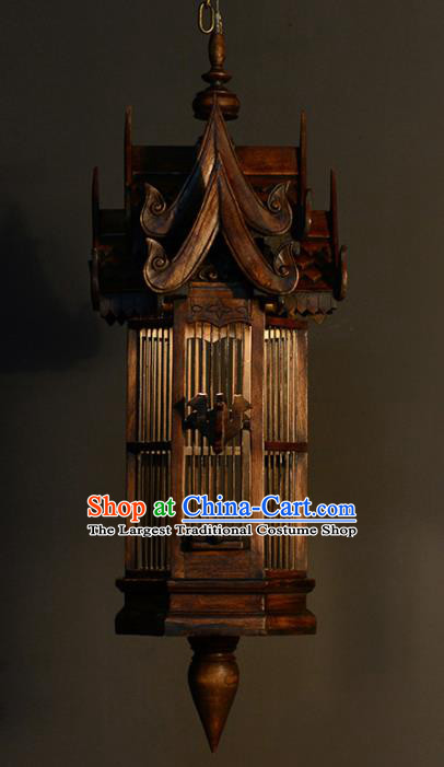 Asian Traditional Wood Carving Birdcage Ceiling Lantern Thailand Handmade Lanterns Hanging Lamps