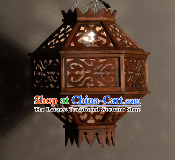 Asian Traditional Wood Carving Ceiling Lantern Thailand Handmade Lanterns Hanging Lamps