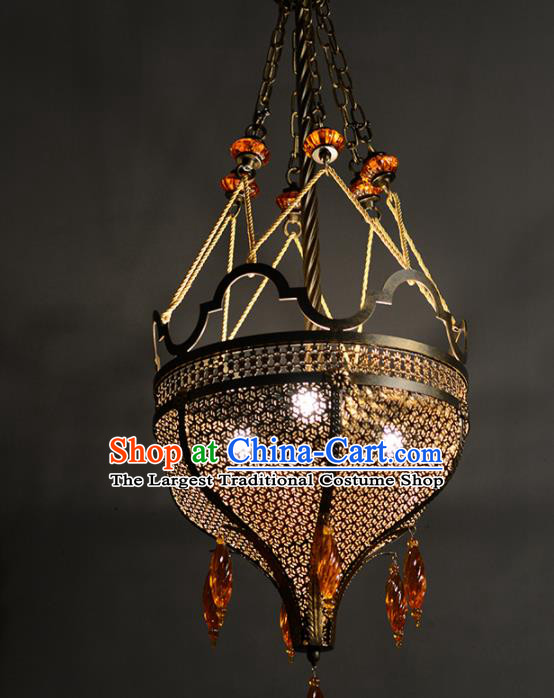 Asian Traditional Iron Carving Ceiling Lantern Thailand Handmade Lanterns Hanging Lamps