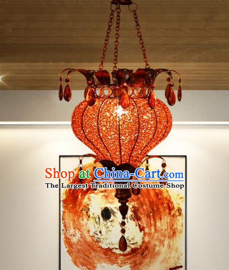 Asian Traditional Red Grass Ceiling Lantern Thailand Handmade Lanterns Hanging Lamps