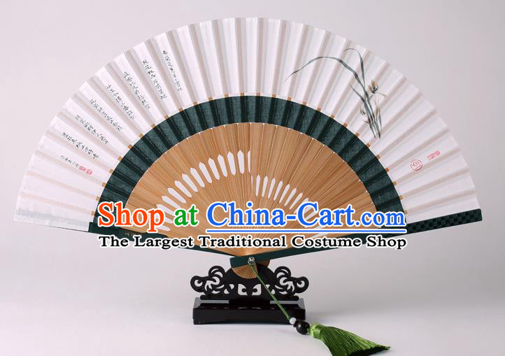 Traditional Chinese Ink Painting Orchid Folding Fan China Bamboo Fan Oriental Fan